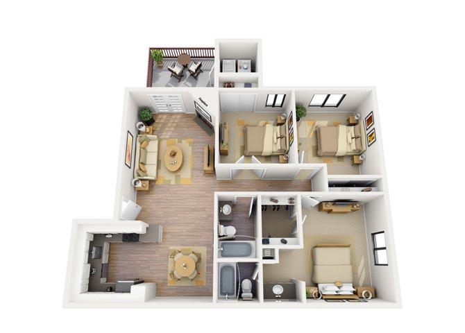 3 Bedrooms 2 Bathrooms Apartment for rent at Del Sol in Scottsdale, AZ