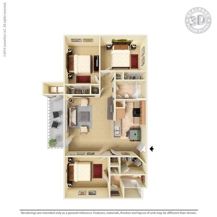 3 Bedrooms 2 Bathrooms Apartment for rent at Monterra in San Antonio, TX