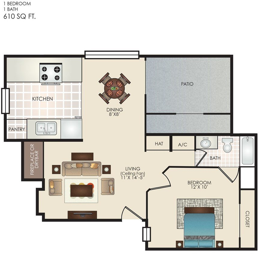 1 Bedroom 1 Bathroom Apartment for rent at The Row in San Antonio, TX