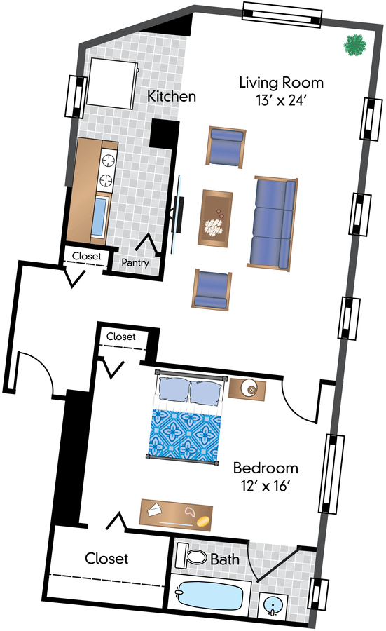1 Bedroom 1 Bathroom Apartment for rent at The Phoenix in Washington, DC