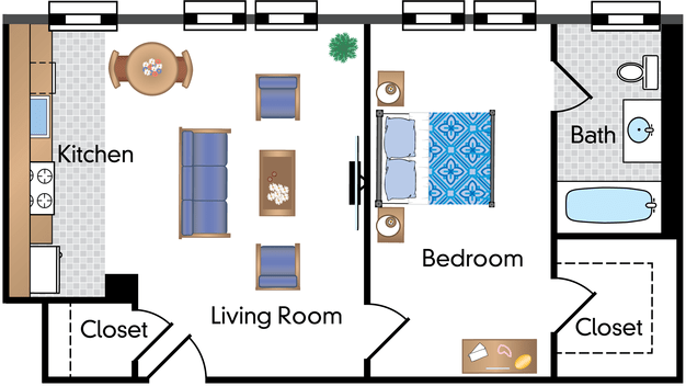 1 Bedroom 1 Bathroom Apartment for rent at Parkway Apartments in Washington, DC