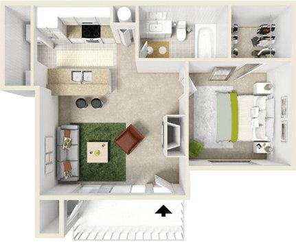 1 Bedroom 1 Bathroom Apartment for rent at The Courtyards in Tulsa, OK