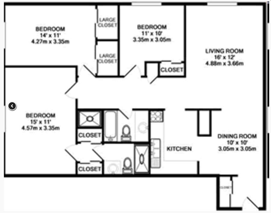 3 Bedrooms 2 Bathrooms Apartment for rent at Lexington Park Apartmetns in Columbus, OH