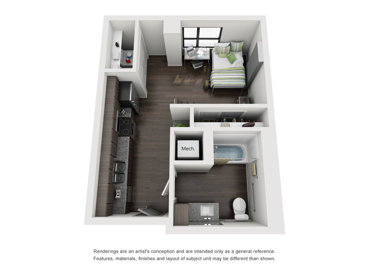 Studio 1 Bathroom Apartment for rent at Skyloft Austin in Austin, TX