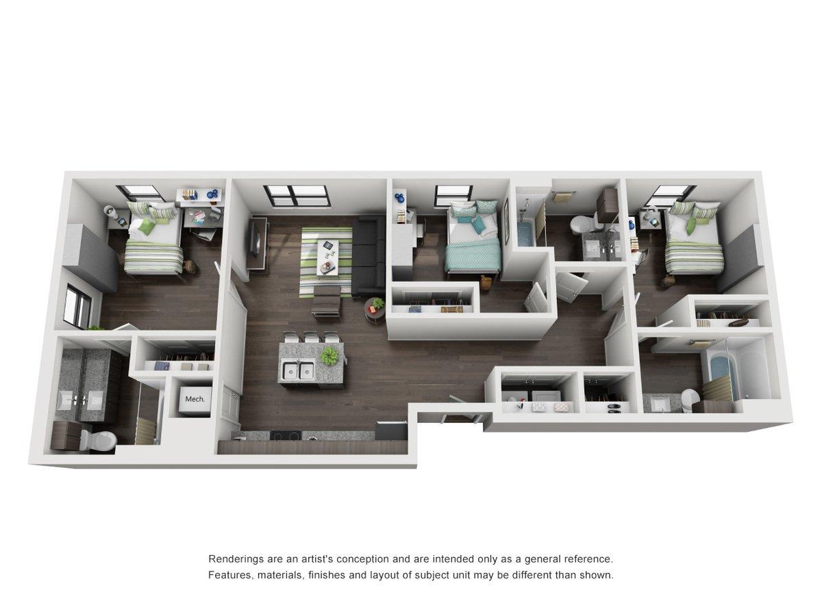 3 Bedrooms 3 Bathrooms Apartment for rent at Skyloft Austin in Austin, TX