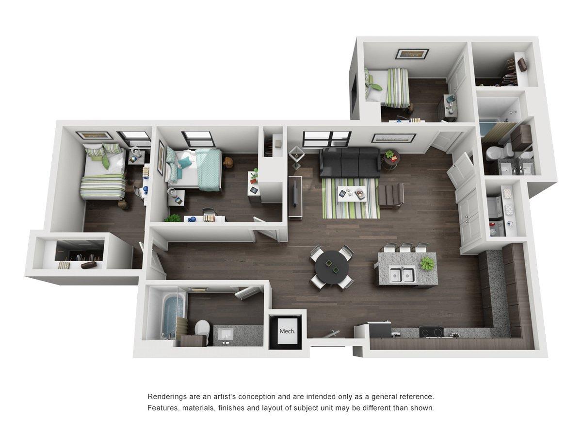 3 Bedrooms 2 Bathrooms Apartment for rent at Skyloft Austin in Austin, TX