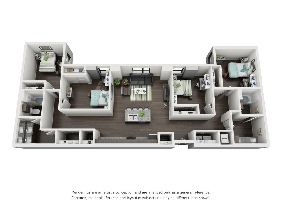 4 Bedrooms 2 Bathrooms Apartment for rent at Skyloft Austin in Austin, TX