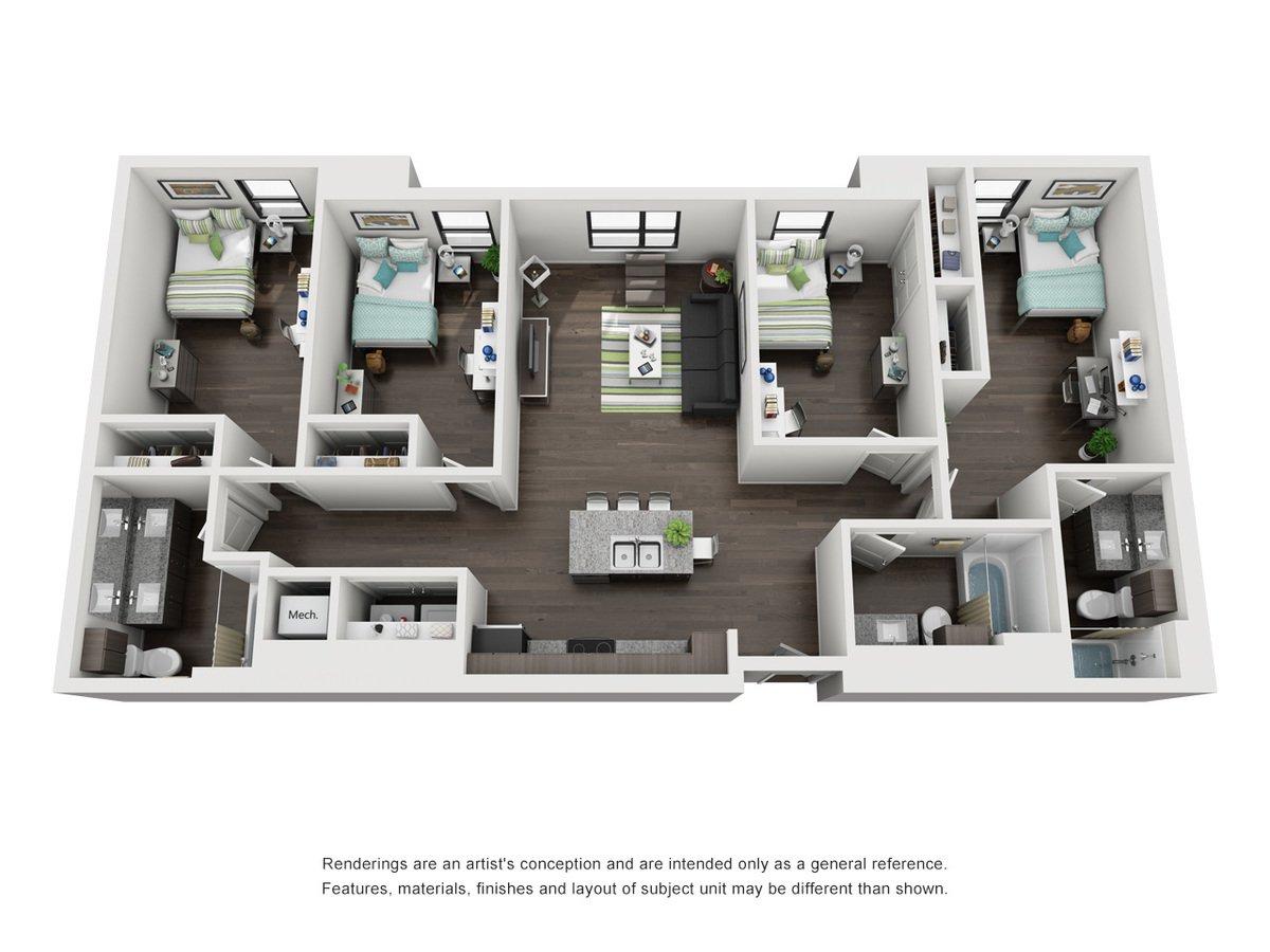 4 Bedrooms 3 Bathrooms Apartment for rent at Skyloft Austin in Austin, TX