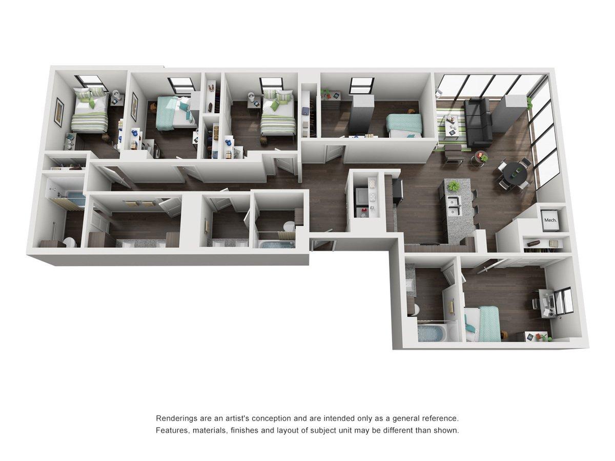 5 Bedrooms 3 Bathrooms Apartment for rent at Skyloft Austin in Austin, TX