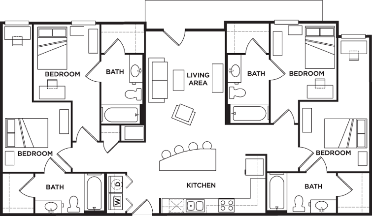 4 Bedrooms 4+ Bathrooms Apartment for rent at 2nd Avenue Centre in Gainesville, FL