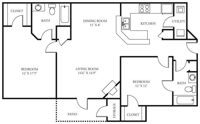 2 Bedrooms 2 Bathrooms Apartment for rent at Coursey Place in Baton Rouge, LA