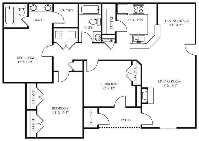 3 Bedrooms 2 Bathrooms Apartment for rent at Coursey Place in Baton Rouge, LA
