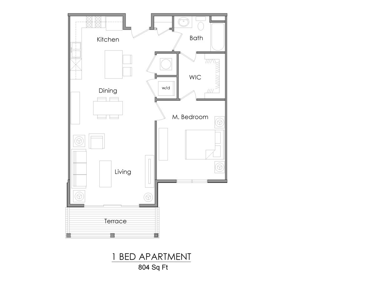 1 Bedroom 1 Bathroom Apartment for rent at Willoughby Estates in Holt, MI
