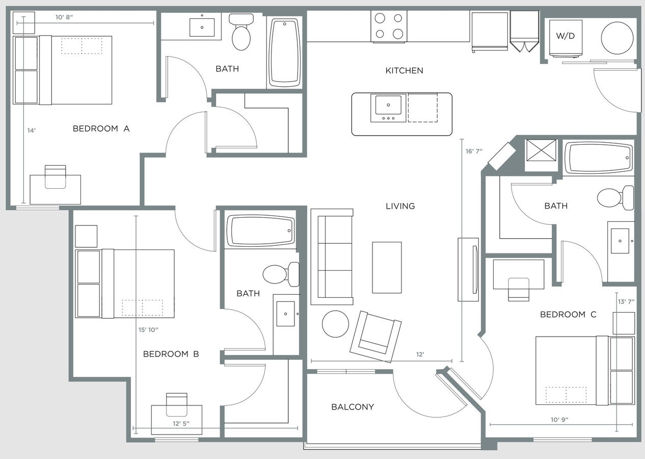 3 Bedrooms 3 Bathrooms Apartment for rent at The Nine in Tuscaloosa, AL