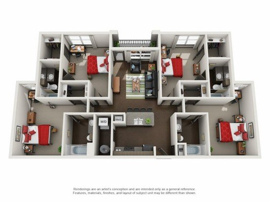 4 Bedrooms 4+ Bathrooms Apartment for rent at The Crimson in Tuscaloosa, AL