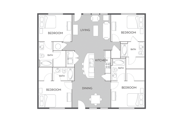 4 Bedrooms 4+ Bathrooms Apartment for rent at Woodlands Of Tuscaloosa in Tuscaloosa, AL
