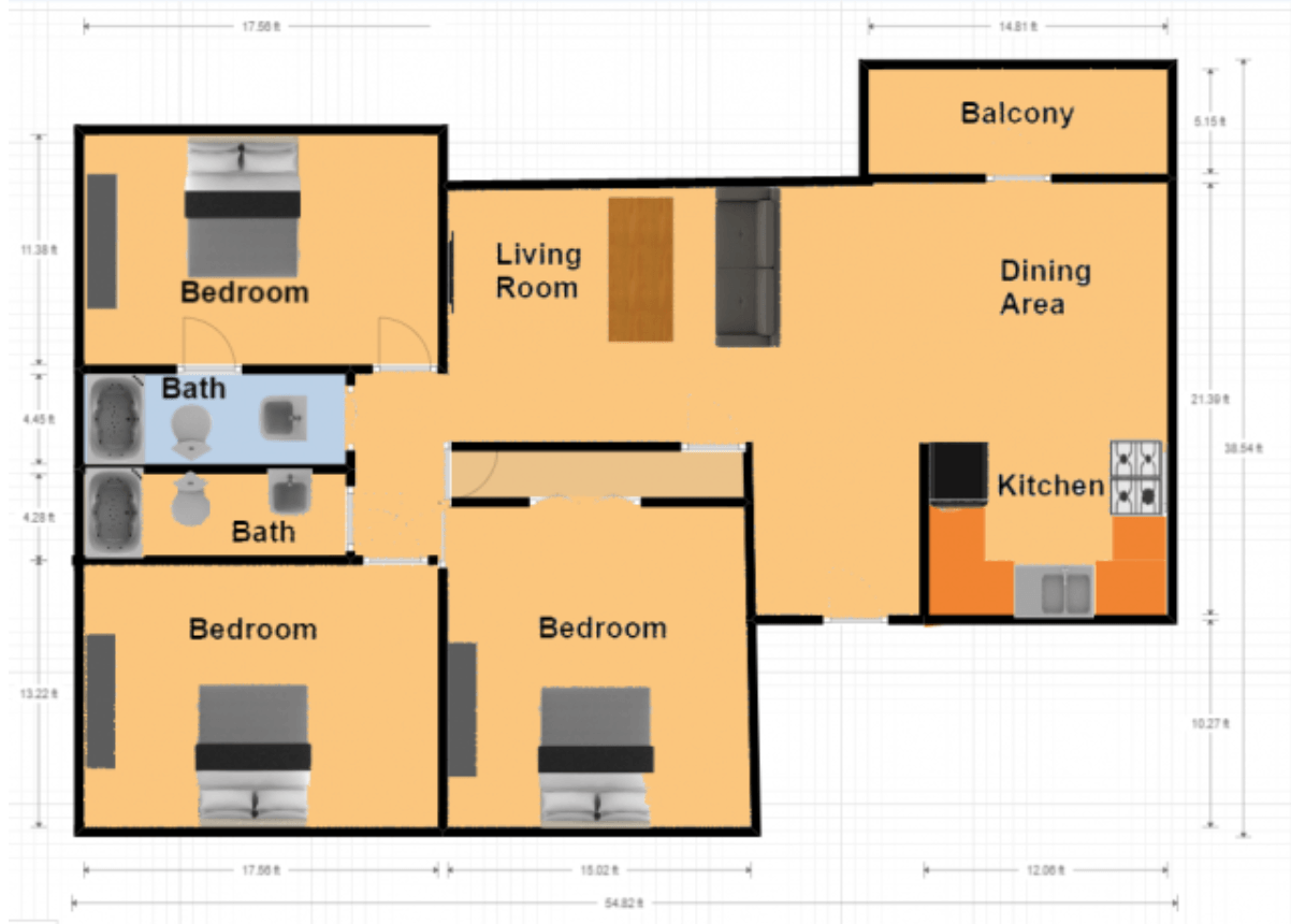 3 Bedrooms 2 Bathrooms Apartment for rent at Mountainside in Birmingham, AL
