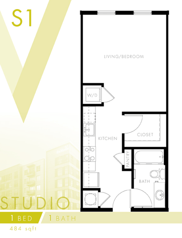 Studio 1 Bathroom Apartment for rent at The Venue At The Ballpark in Birmingham, AL