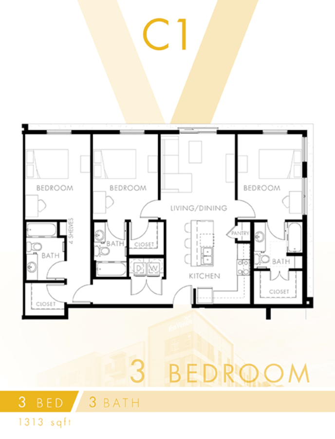 3 Bedrooms 3 Bathrooms Apartment for rent at The Venue At The Ballpark in Birmingham, AL