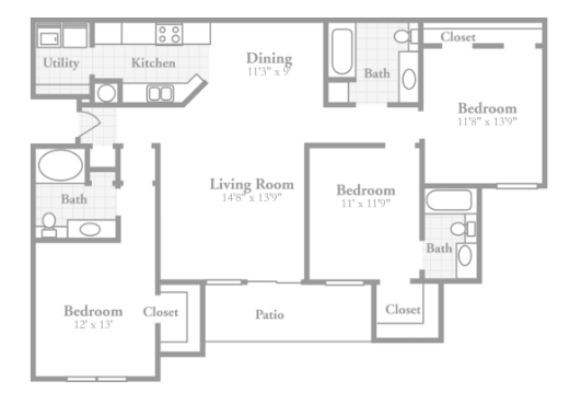 3 Bedrooms 3 Bathrooms Apartment for rent at Crowne On Tenth in Birmingham, AL