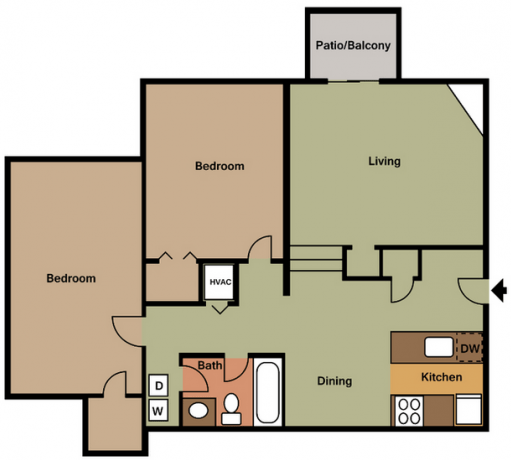 2 Bedrooms 1 Bathroom Apartment for rent at Vida On Valley in Birmingham, AL