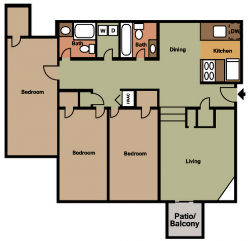 3 Bedrooms 2 Bathrooms Apartment for rent at Vida On Valley in Birmingham, AL