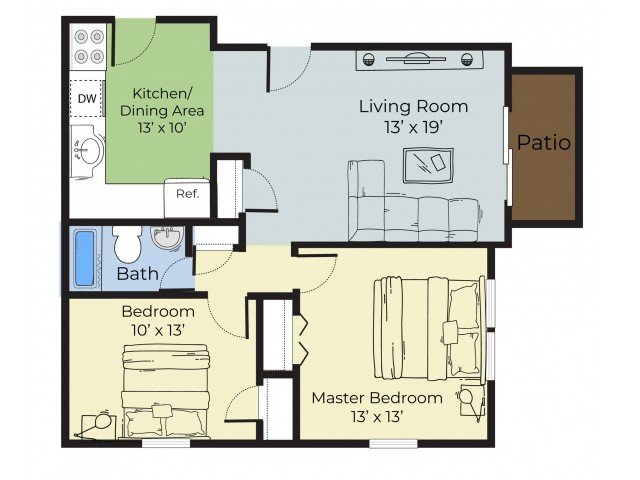 2 Bedrooms 1 Bathroom Apartment for rent at Princeton Arbors in Keene, NH