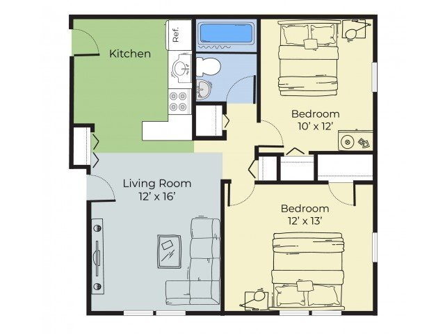 2 Bedrooms 1 Bathroom Apartment for rent at Princeton At Mill Pond in Keene, NH