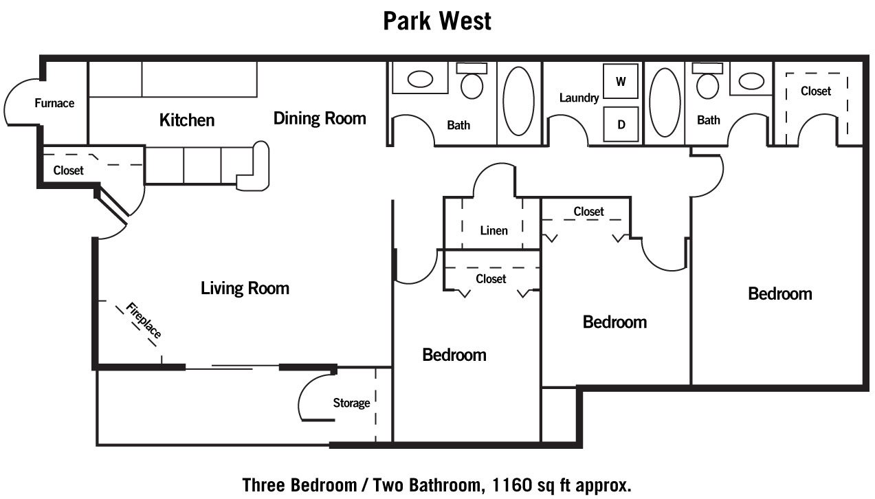 3 Bedrooms 2 Bathrooms Apartment for rent at Park West in Omaha, NE