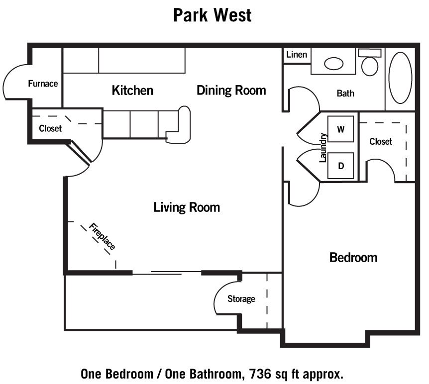 1 Bedroom 1 Bathroom Apartment for rent at Park West in Omaha, NE
