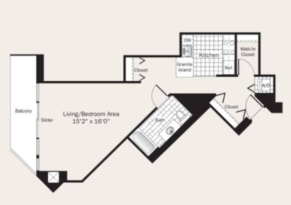 Studio 1 Bathroom Apartment for rent at Grand Plaza in Chicago, IL