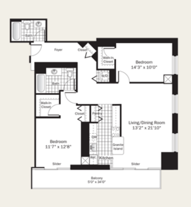 2 Bedrooms 2 Bathrooms Apartment for rent at Grand Plaza in Chicago, IL