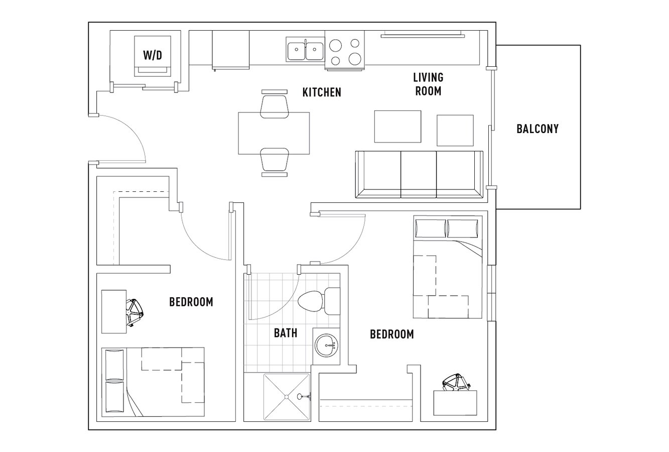 2 Bedrooms 1 Bathroom Apartment for rent at Campus Edge On Pierce in West Lafayette, IN