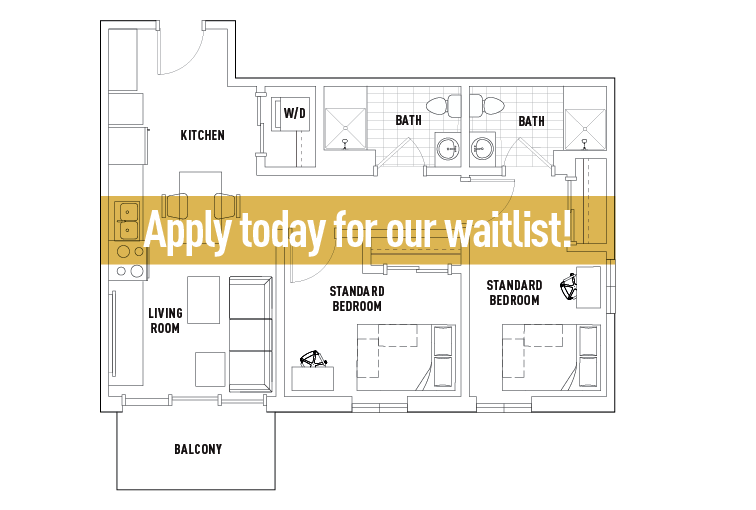 2 Bedrooms 2 Bathrooms Apartment for rent at Campus Edge On Pierce in West Lafayette, IN
