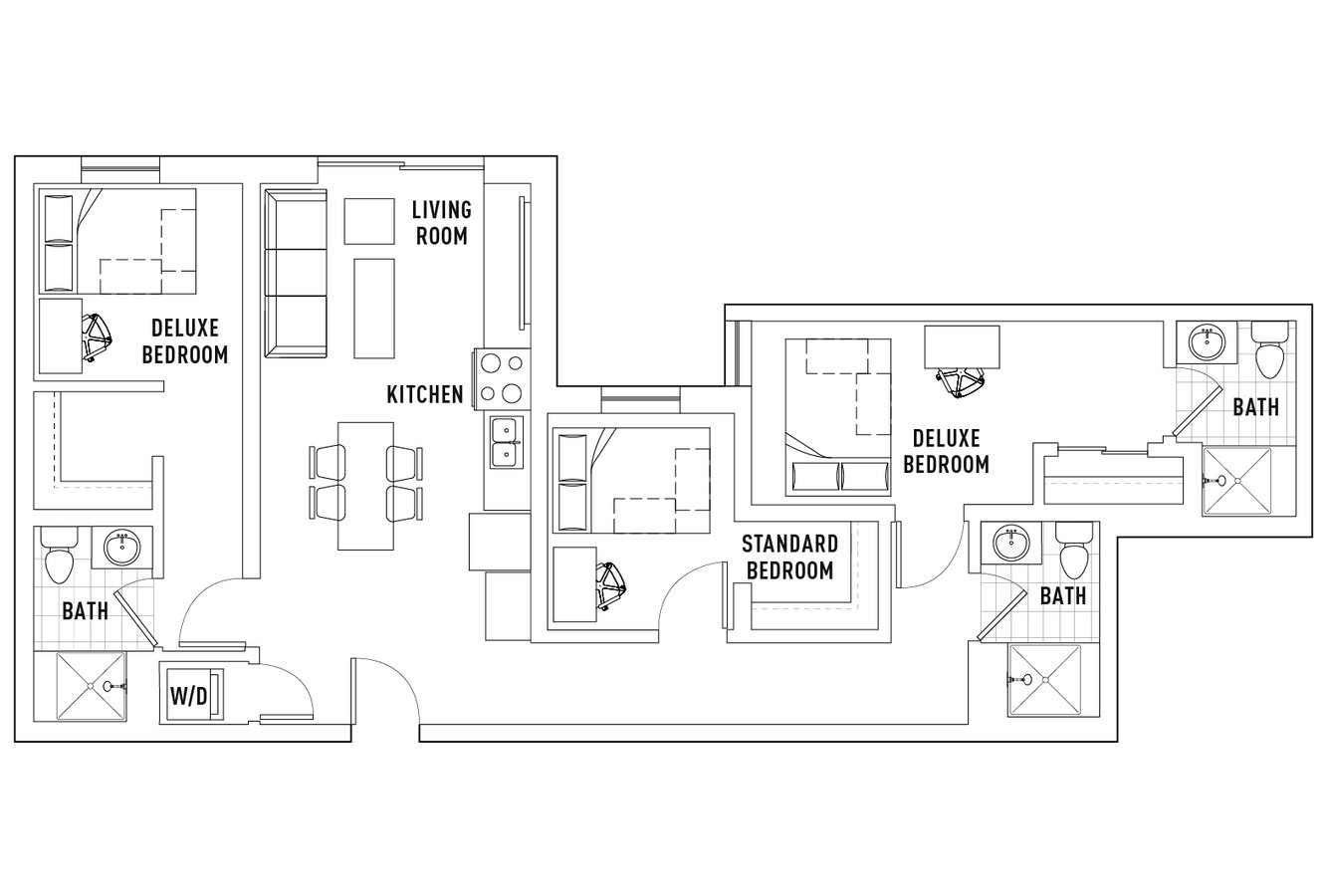 3 Bedrooms 3 Bathrooms Apartment for rent at Campus Edge On Pierce in West Lafayette, IN