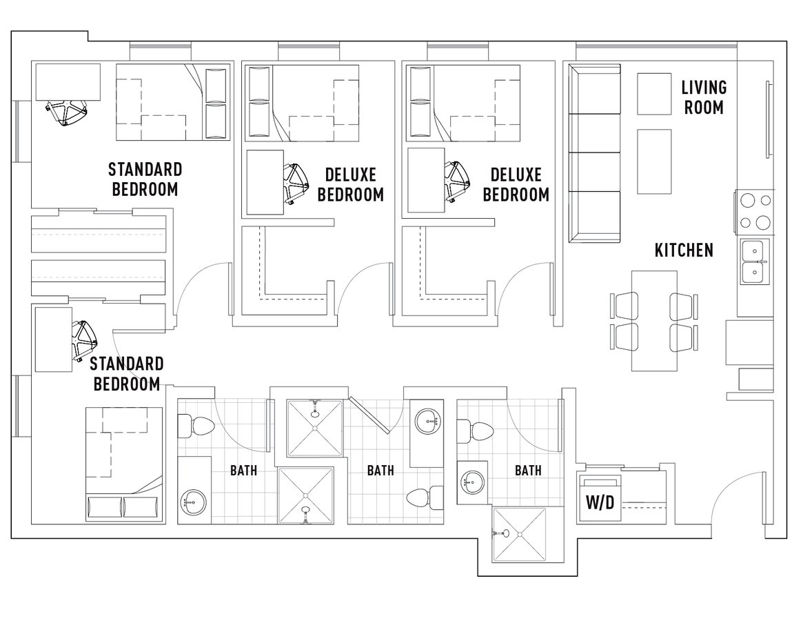 4 Bedrooms 3 Bathrooms Apartment for rent at Campus Edge On Pierce in West Lafayette, IN