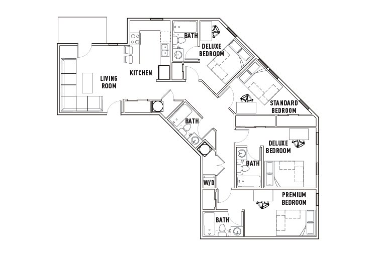 4 Bedrooms 4+ Bathrooms Apartment for rent at Chauncey Square in West Lafayette, IN