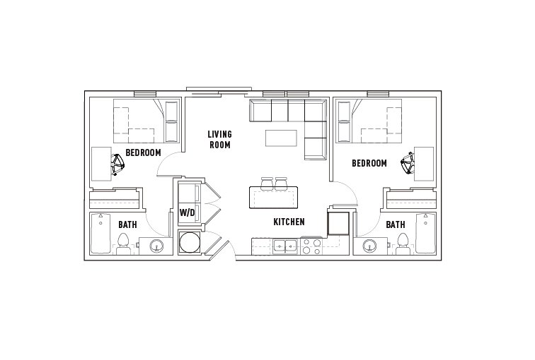 2 Bedrooms 2 Bathrooms Apartment for rent at Chauncey Square in West Lafayette, IN