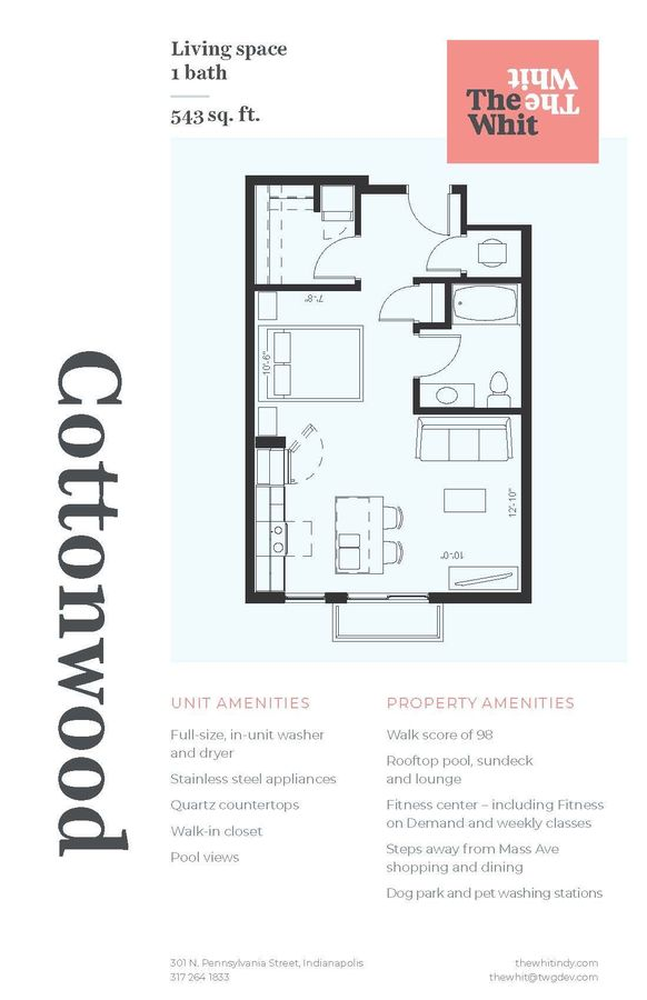 Studio 1 Bathroom Apartment for rent at The Whit in Indianapolis, IN