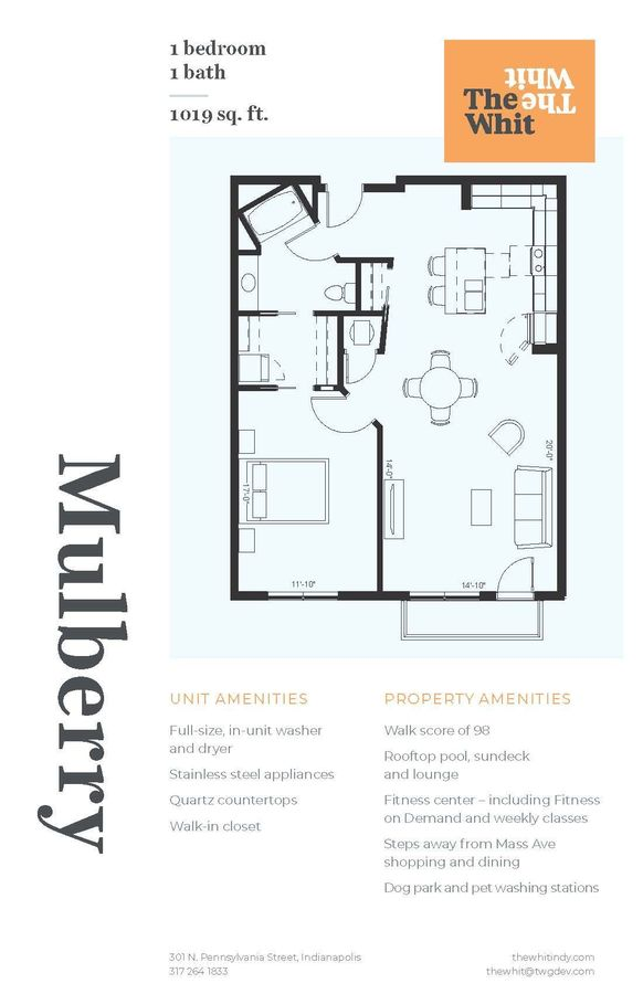 1 Bedroom 1 Bathroom Apartment for rent at The Whit in Indianapolis, IN