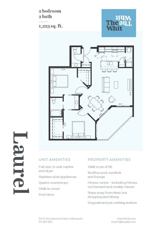 2 Bedrooms 1 Bathroom Apartment for rent at The Whit in Indianapolis, IN