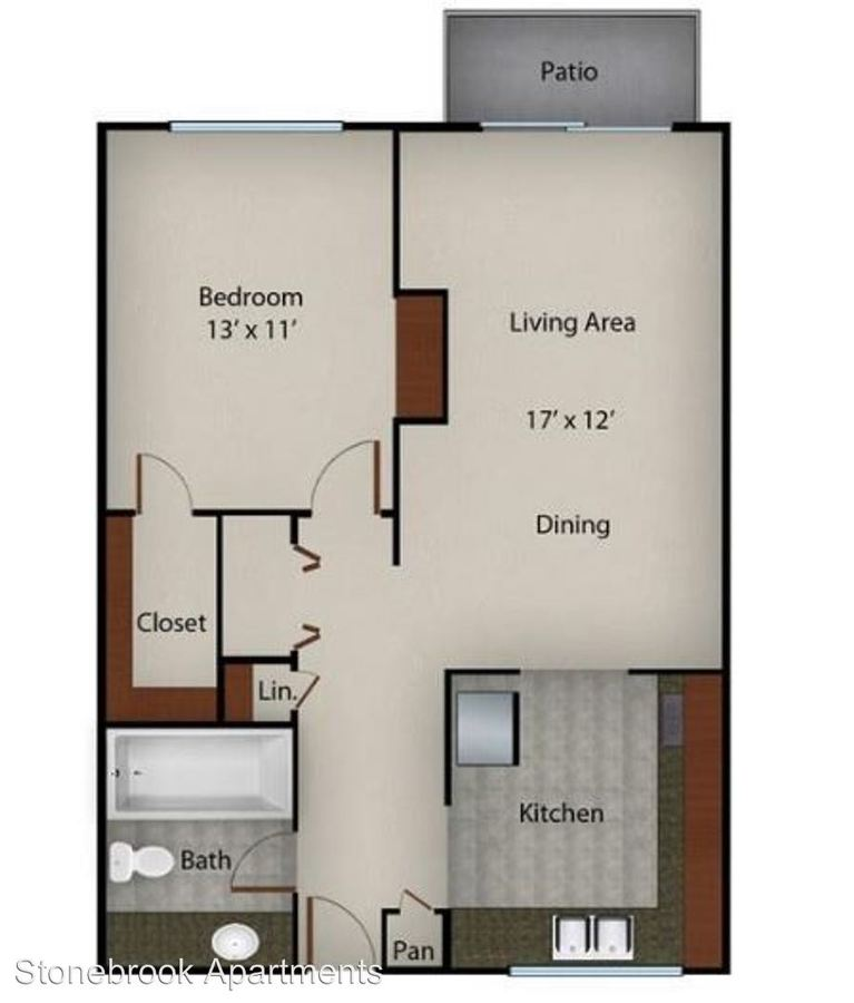 1 Bedroom 1 Bathroom Apartment for rent at Stonebrook Apartments in Memphis, TN