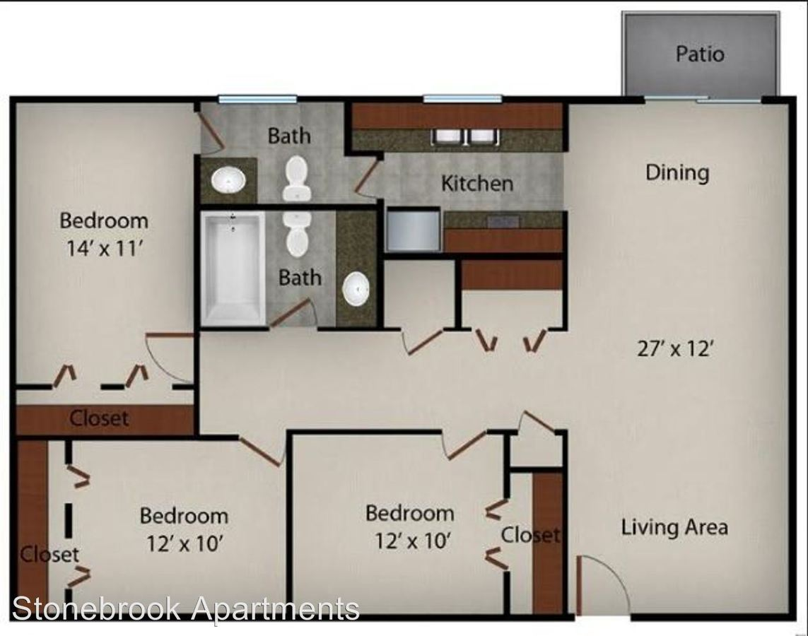 3 Bedrooms 2 Bathrooms Apartment for rent at Stonebrook Apartments in Memphis, TN