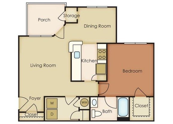 1 Bedroom 1 Bathroom Apartment for rent at Notting Hill in Chapel Hill, NC
