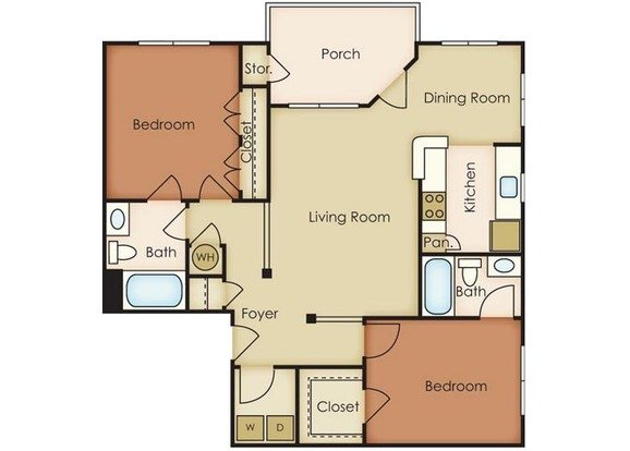 2 Bedrooms 2 Bathrooms Apartment for rent at Notting Hill in Chapel Hill, NC