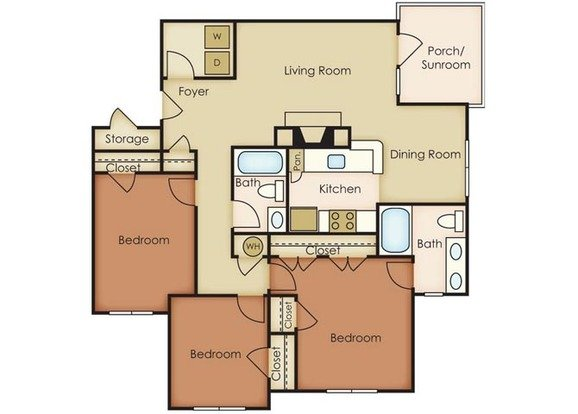 3 Bedrooms 2 Bathrooms Apartment for rent at Notting Hill in Chapel Hill, NC