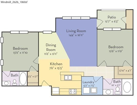 2 Bedrooms 2 Bathrooms Apartment for rent at Mill Creek in Wilmington, NC