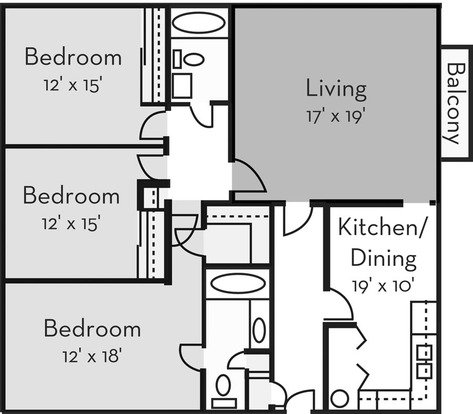 3 Bedrooms 2 Bathrooms Apartment for rent at Forest Hills in Wilmington, NC