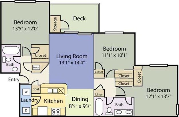 3 Bedrooms 2 Bathrooms Apartment for rent at Clear Run in Wilmington, NC