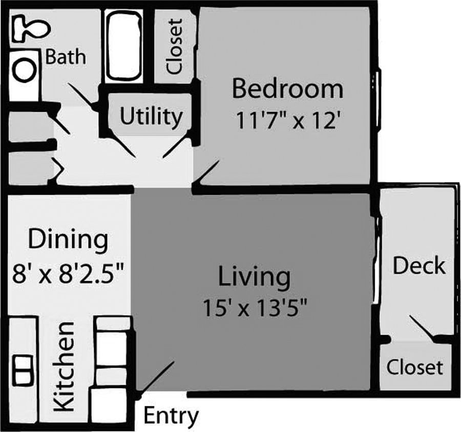 1 Bedroom 1 Bathroom Apartment for rent at Cape Harbor Apartments in Wilmington, NC